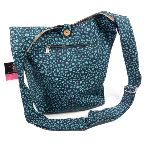 Shoulder bag Small Shopper paws blue-green-52