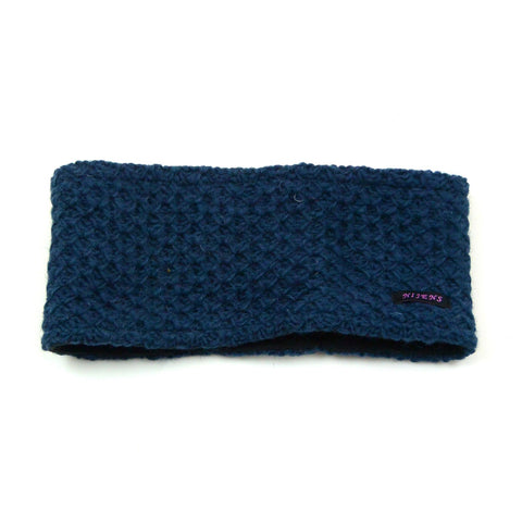 Headband Nijens made of virgin wool protected warm winter accessories soft knitted melange outfits dark blue photo