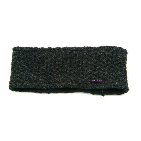 Headband Nijens made of wool new wool cold protection warm winter accessories soft knit melange outfits dark gray photo