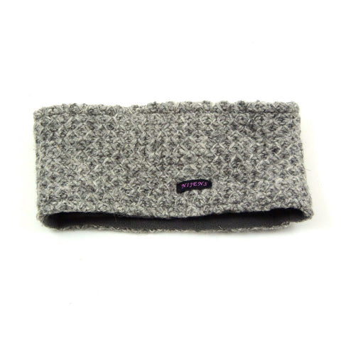 Headband Nijens made of wool new wool cold protection warm winter accessories soft knit melange gray photo