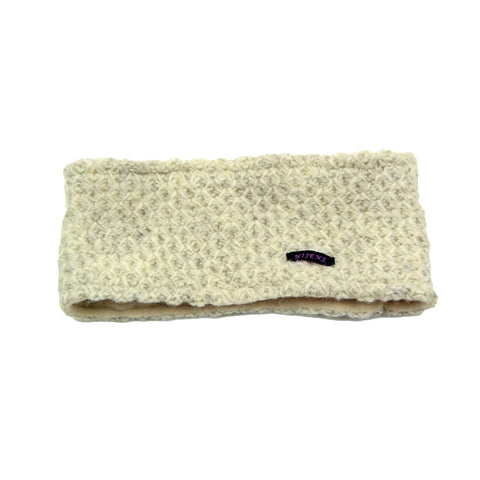 Headband Nijens made of wool virgin wool cold protection warm winter accessories soft knit melange mother-of-pearl photo