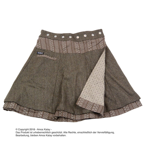 NijensSoufflé Tweed Long-24 braun Wickelrock