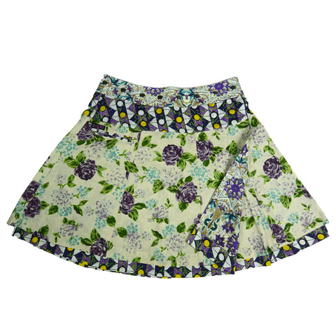 Nijens swinging wrap skirt reversible skirt made of cotton purple rose