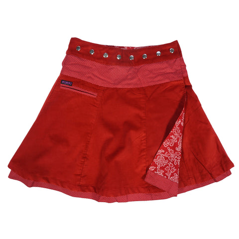 Nijens reversible skirt Corduroy long wrap skirt red