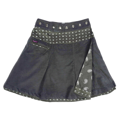 Nijens reversible skirt wrap skirt reversible women corduroy cotton gray