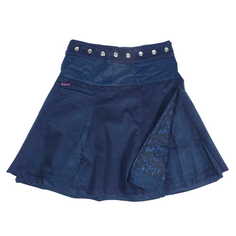 Nijens Reversible Skirt Wrap Skirt Reversible Women Skirt Corduroy Dark Blue Corduroy / Cotton Photo