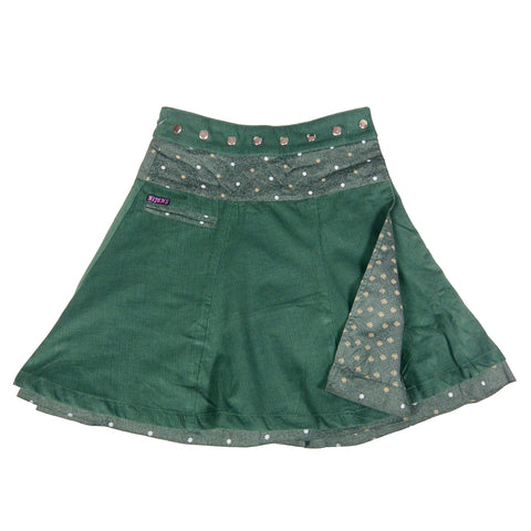 Wrap skirt Reversible ladies skirt Corduroy Long dark green made of corduroy / cotton