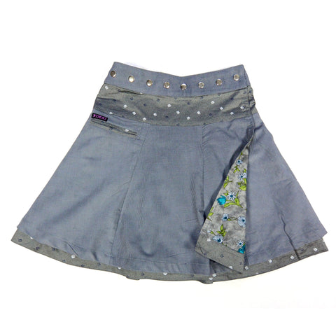 Nijens reversible skirt, wrap skirt reversible women skirt corduroy long gray-blue cotton