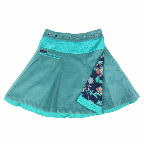 Nijens Reversible Skirt Wrap Skirt Reversible Women Skirt Corduroy Long Turquoise-Blue Corduroy / Cotton Skirt Photo