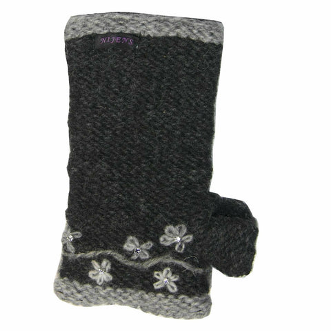 Nijens hand-knitted wrist warmers wool fleece insert beautiful flower embroidery crystal stones