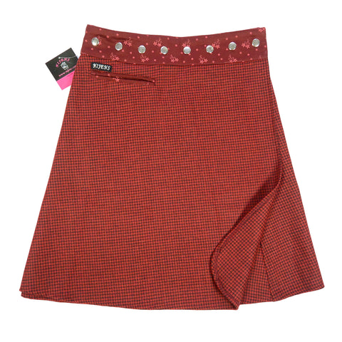 Most fashionable feminine clothes wrap skirts winter skirt Nijens dark red photo