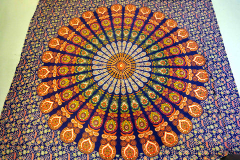 Mandala cover Nijens Wall hanging Beach sheet Tapestry Cotton Art Decor orange blue Photo