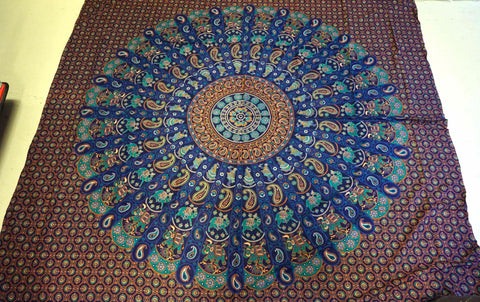 Mandala cover Wall hanging Cotton blue turquoise