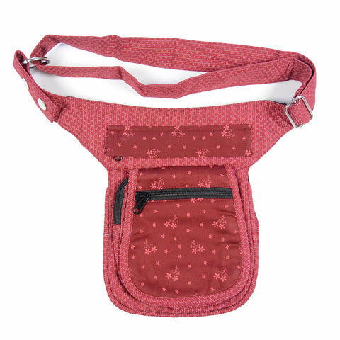 Nijens red bum bag with a small flower pattern