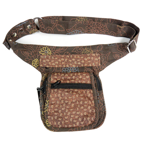 Nijens Festival bum bag fabric canvas with flower pattern in brown