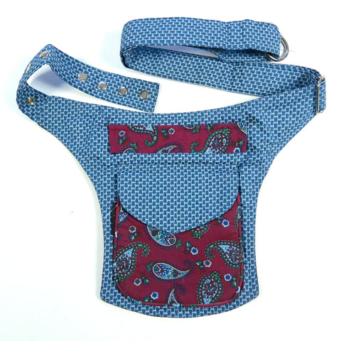 India bum bag paisley organic cotton blue-bordeaux