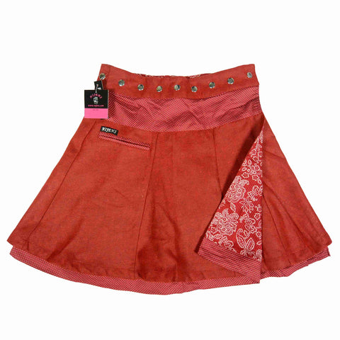 Wrap Skirt Nijens Extravagant cuts High-fashion wonder combination of wool / cotton Reversible skirt Red floral pattern picture