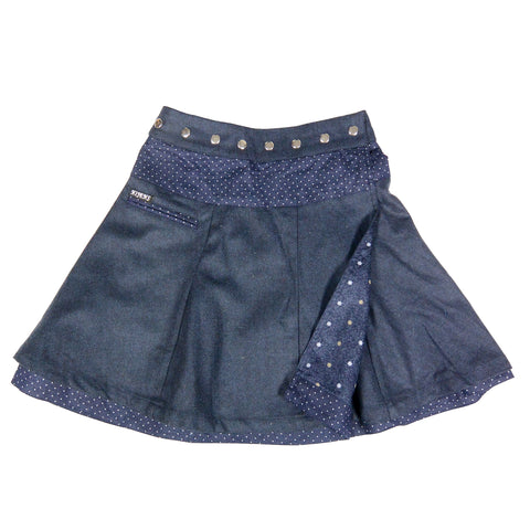 Wearable from both sides and adjustable waistband with snaps. Dark blue color skirt photo