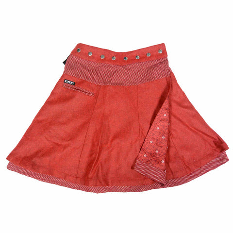 Reversible skirt Nijens Soufflé Tweed Long Red-61