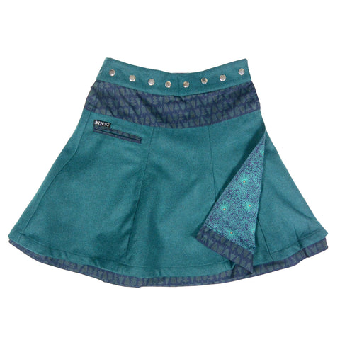 Reversible skirt NijensSoufflé Tweed Long fir green-74