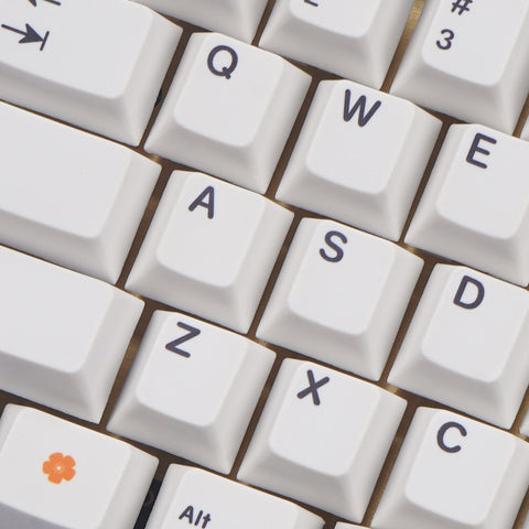NPKC White Orange Dye-sub Keycaps 76 keys