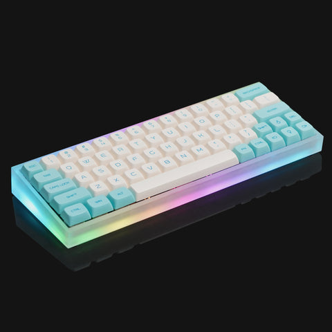 Fully assembled Tofu60 acrylic mechanical keyboard with keycaps