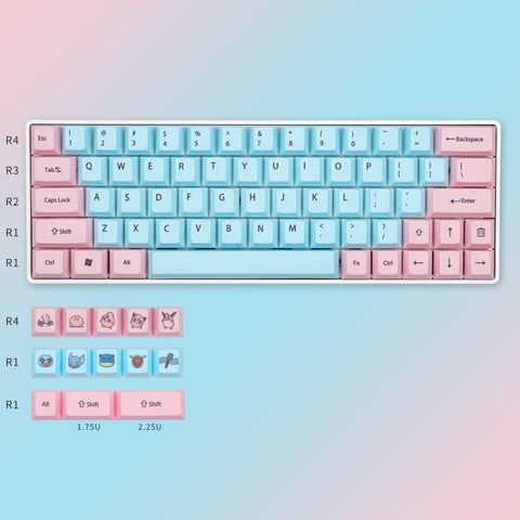 Pink and Blue Cherry Profile Dye-SUB keycaps set