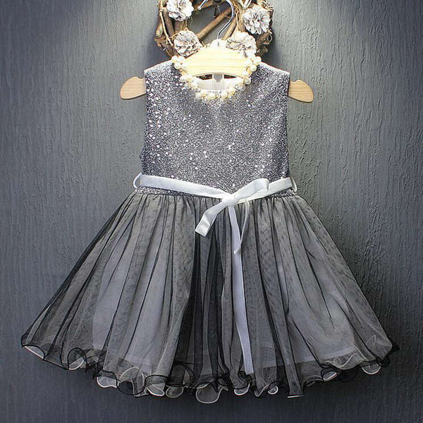 Grey Sequinned Party Dress