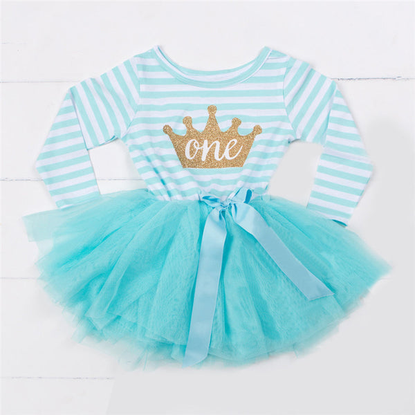 Crown Long Sleeved Birthday Dress ( Up To 3 Years)