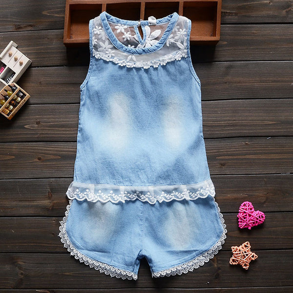 Denim Top & Shorts Set