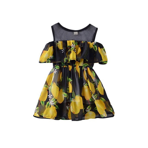 Lemon Print A Line Dress