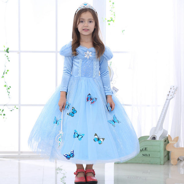 Baby Blue Butterfly Princess Dress