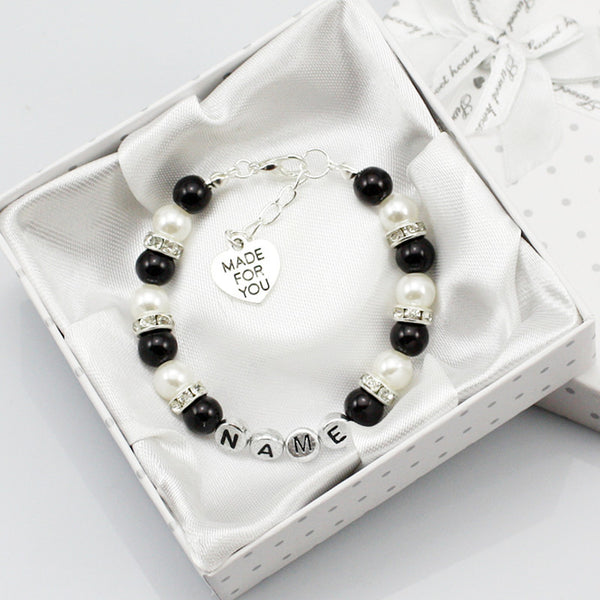 Black Crystal Pearl Custom Bracelet