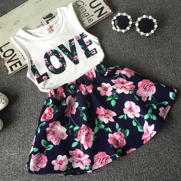 Love Top and Floral Skirt Set