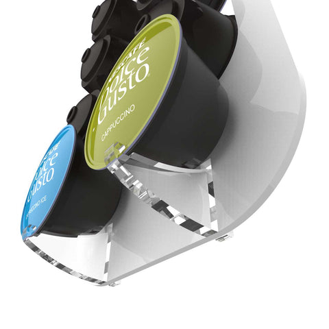Wall Mounted Dolce Gusto Pod Holder With Clear Acrylic Spare Pod Clips