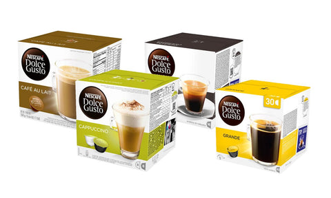 Dolce Gusto coffee pod shown in boxes