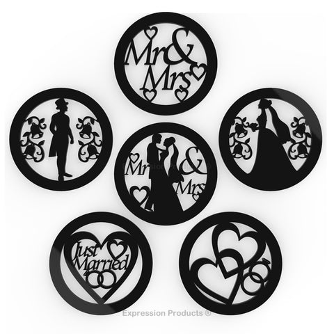 6 - Wedding Drink Coasters - Black or White Acrylic Wedding Table Decorations - Expression Products Ltd