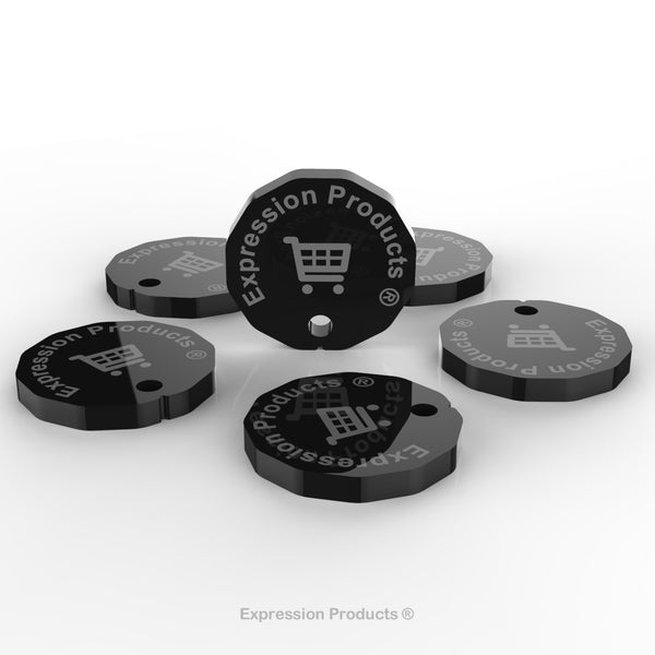 6 - New One Pound Coin £1 Shopping Trolley Token - 12 Sided Acrylic Tokens - Expression Products Ltd