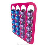Magnetic Nespresso Vertuo capsule holder shown in pink holding 20 pods