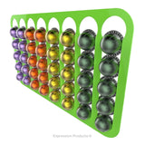 Magnetic Nespresso Vertuo capsule holder shown in lime holding 40 pods