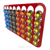 Magnetic Nespresso Vertuo capsule holder shown in red holding 40 pods