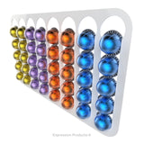 Magnetic Nespresso Vertuo capsule holder shown in white holding 40 pods