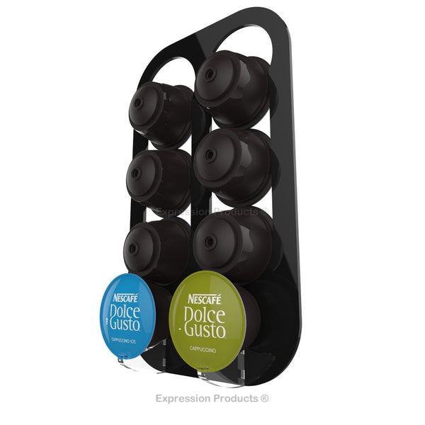 Dolce gusto coffee pod holder, wall mounted, half height.  Shown in black holding 8 pods