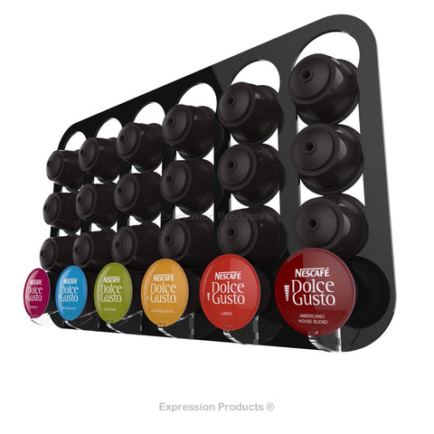 Dolce gusto coffee pod holder, wall mounted, half height.  Shown in black holding 24 pods