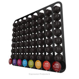 Dolce Gusto Coffee Pod Holder, Wall Mounted.  Shown in Black Holding 64 Pods