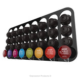 Dolce gusto coffee pod holder, wall mounted, half height.  Shown in black holding 32 pods
