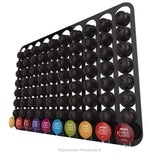 Dolce Gusto Coffee Pod Holder, Wall Mounted.  Shown in Black Holding 80 Pods