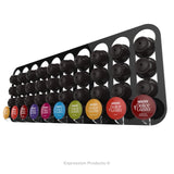 Dolce gusto coffee pod holder, wall mounted, half height.  Shown in black holding 40 pods