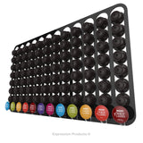 Dolce Gusto Coffee Pod Holder, Wall Mounted.  Shown in Black Holding 96 Pods