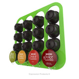 Dolce gusto coffee pod holder, wall mounted, half height.  Shown in lime holding 16 pods